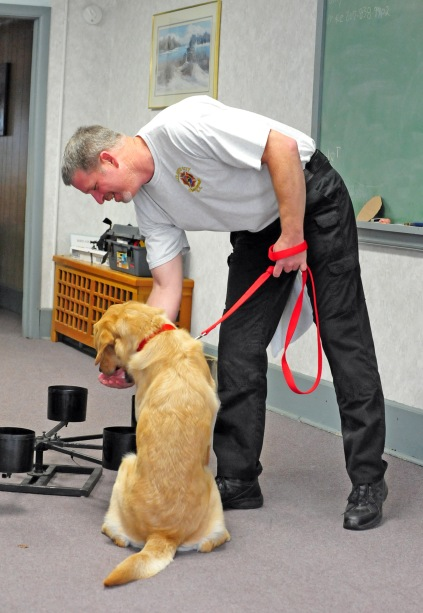 Deputy Chief Barry Overman and K-9 Ranson with the Elizabeth City Fire Department