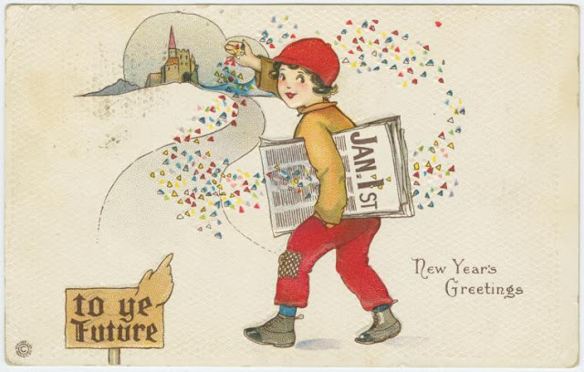 New Year's greetings Newsboy throwing confetti