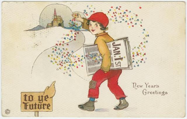 New Year's greetings Newsboy throwing confetti
